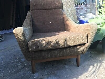 1966 Possible Danish Antique Daybed And 2 Armchairs