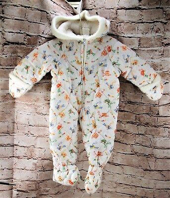 Vintage 1980s One Piece Puffed Hooded Footed Coverall Baby Size 0-6 Months