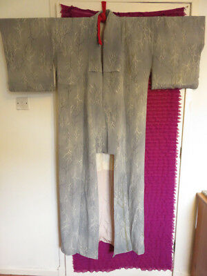 Authentic lined Japanese Kimono patterned with trees purchased in Kyoto