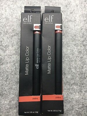 2 e.l.f. Matte Lip Color Praline 0.05 oz LOT OF 2 Pack NEW Lipstick Gloss