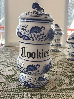 "Blue Onion ""Cookies"" Arnart Vintage 10"" x 5.5"" x 5.5"" w label"