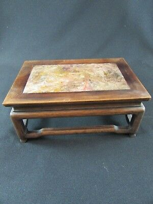 Chinese Hardwood & Marble Small Rectangular Table/Stand c.1910-20