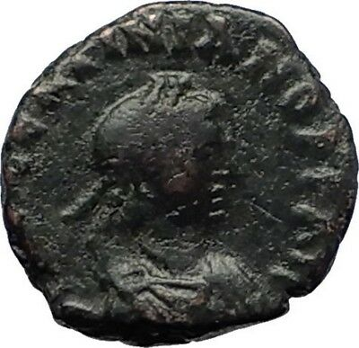 VALENTINIAN III Authentic Ancient Genuine AE4 RARE Roman Coin w CROSS i70721