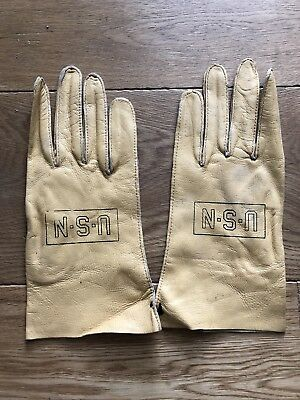 Original Wwii Us Navy Flying Summer Tan Leather Gloves Type B-3A, Size 9, Nos