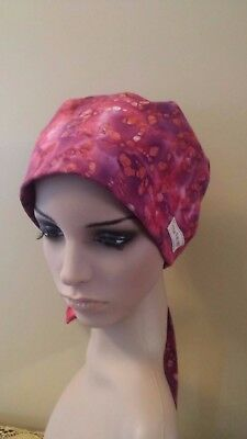 Red/Purple Pixie Scrub Hat Cap Surgical Medical Chef Chemo