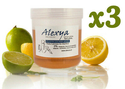 3x ALEXYA SUGAR PASTE WAX FOR DEPILATION :: HAIR REMOVAL :: 300g :: 100% NATURAL