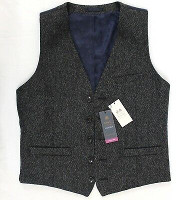 M & S Mens Abraham Moon Luxury Collection British Wool Tailored Fit Waistcoat