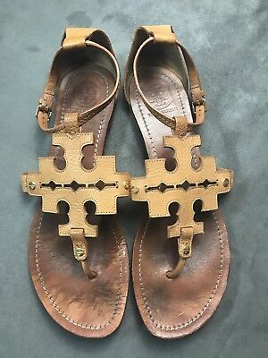 a868a88ea17 TORY BURCH Phoebe Chandler Flat Thong Sandals Royal Tan Sz 11 Miller  D21