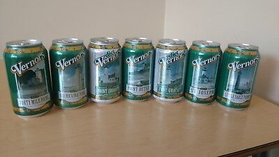 NEW Set of 7 - 12 oz. 2018 VERNORS Michigan Lighthouse Soda Pop Cans