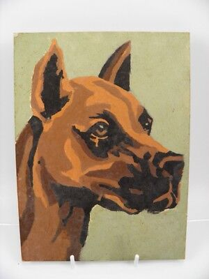 Antique Art Deco early 20th century oil painting portrait of a dog