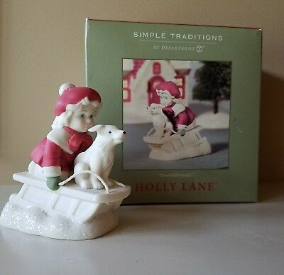 """EUC 2002 """"Downhill Friends"""" DEPT 56 SIMPLE TRADITIONS HOLLY LANE w/BOX Sled Dog"""