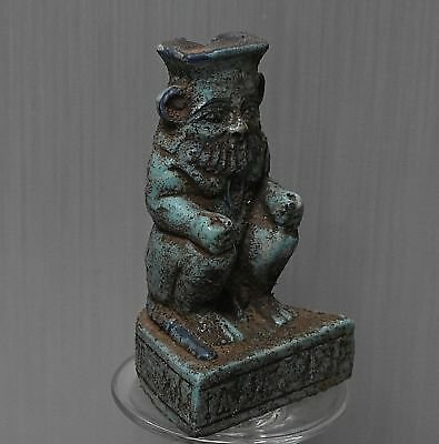ANCIENT EGYPT ANTIQUE Egyptian beautiful faience statue of BES 300-1500 BC