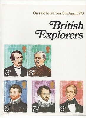1973 Post Office A4 Poster Grille Card - British Explorers