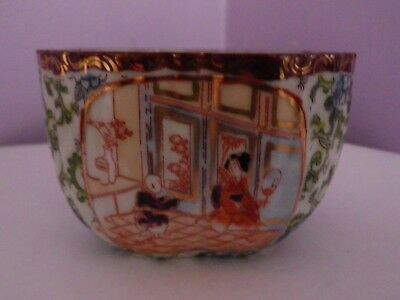 Fab Old Japanese Porcelain Ladies In House With Flowers Square Bowl 6 Cms Tall