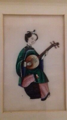 Fine antique 19th century Chinese rice pith painting - string musician.