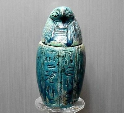 ANCIENT EGYPT ANTIQUE EGYPTIAN faience Canopic Jar Qebehsenuef 1500BC