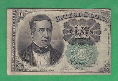 1874-76 10¢ 'Green Seal' William Meredith U.S. Fractional!      x7a