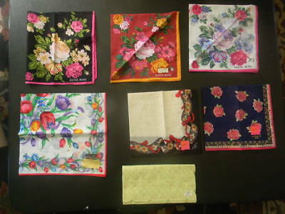 Lot of  6 Beautiful  Vintage Floral Print Handkerchiefs Hankies - with tags