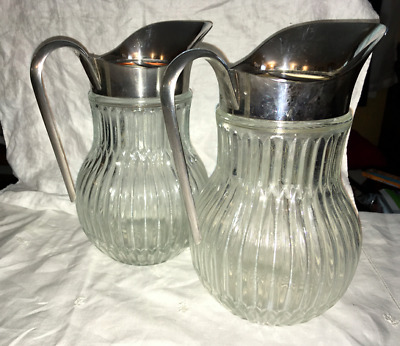 vintage pressed glass & silverplate pitcher, Italian, PAIR, ribbed Deco SALE!