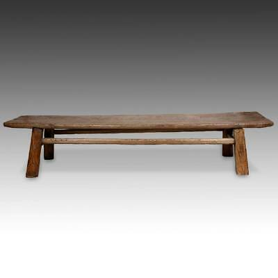 Rare Chinese Antique Rustic Bench Elm Wood Qing Dynasty China Furniture 19Th C.