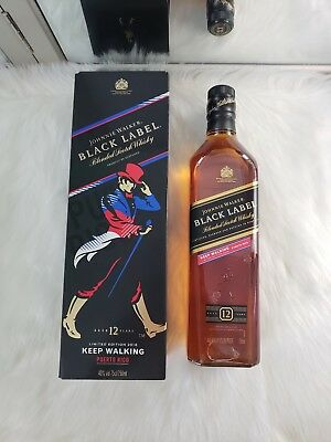 Johnnie Walker Black Label Lmtd Ed Puerto Rico Pr 2018 750Ml Blue Red Free S/h