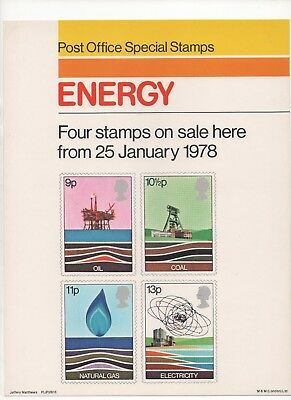 1978 Post Office A4 Poster Grille Card - Energy