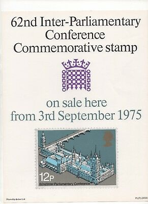 1975 Post Officel A4 Poster Grille Card - Inter-Parlimentary Conference