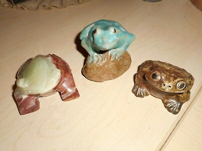 Lot of 3 Frog Figures (Clay/Ceramic, Carved Stone)