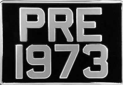 2 SQUARE Black & Silver Pressed Number Plates Car Metal Classic UK