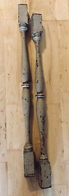 """2 Vintage Wooden Spindles Ballusters Salvaged Furniture Stairs 29.75"""" Long"""