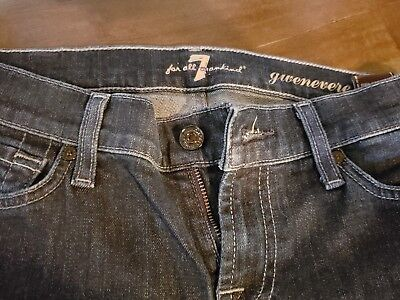 c0684699c660a 7 for all Mankind Guenevere Skinny Jeans Dark Wash Blue Stitching Size 25/30