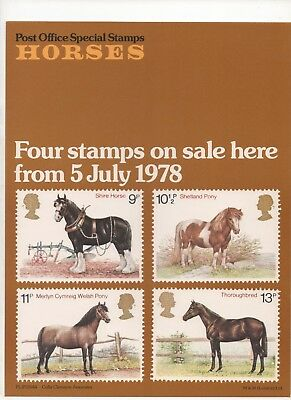 1978 Post Officel A4 Poster Grille Card - Horses