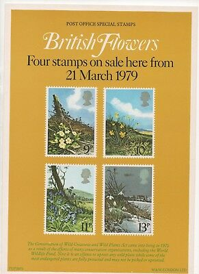 1979 Post Office A4 Poster Grille Card - British Flowers