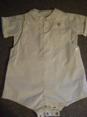 VINTAGE Feldman Brothers Boys Baby All White Two Piece Set Romper Shortall 6-9M