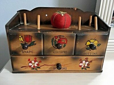 Vintage Antique Wood Sewing Notions Box
