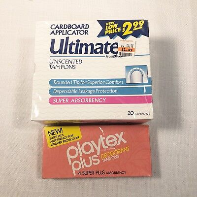 Vintage Tampons Playtex Ultimates 20 Pack Playtex Plus 4 Pack Super Absorbency