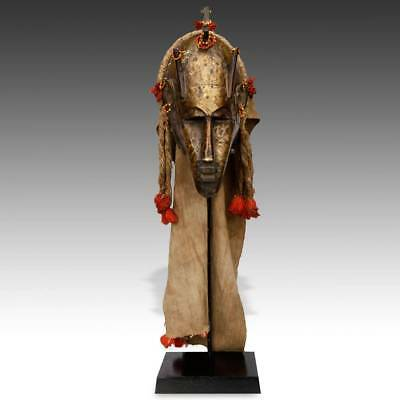 Vintage Mask Marka People Carved Wood Brass Cloth Beads Mali W. Africa 20Th C.
