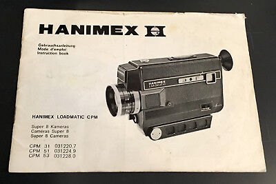 Original HANIMEX LOADMATIC CPM 31/51/53 Super 8 Instruction Manual