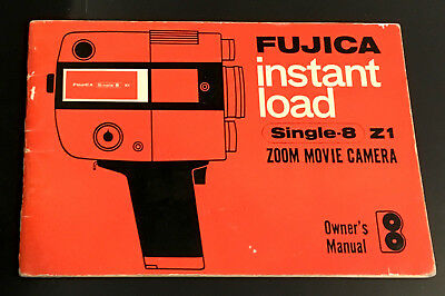 Original FUJICA Z1 SINGLE 8 Zoom Movie Camera Instruction Booklet