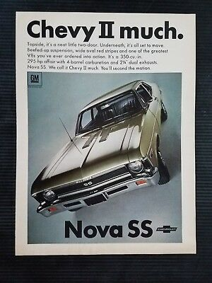 1968 Chevy II Nova SS Chevrolet - Original Vintage Full Page Color Ad