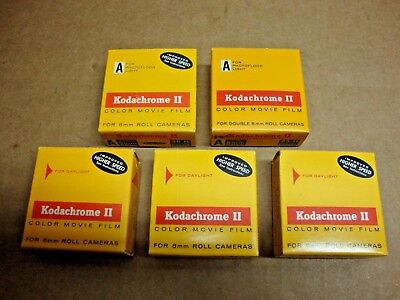 Vintage NOS Kodak Kodachrome II Lot Of 5 25ft 8mm Color Movie Film Rolls