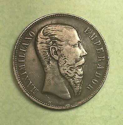 1866 Mexico 50 Cent Silver Collector Coin For Set Or Collection.