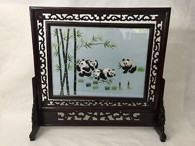Chinese Two-Sided Hand Stitch Embroidery Table Screen Panda's Su Silk