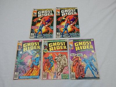 Ghost Rider Marvel Lot Of 5 Bronze Age Comic Book Lot GD