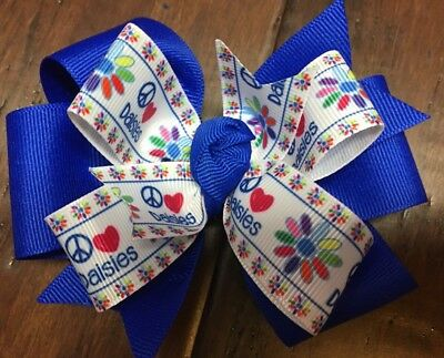 Girl Scout Hair Bow Boutique Pinwheel Handmade  Daisy Scout Flower Clip