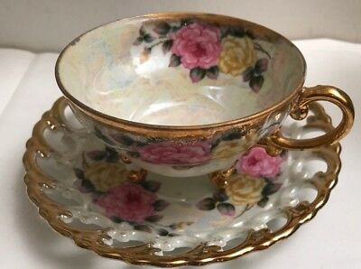 Vintage Antique Footed Tea Cup And Saucer Irridescent Japan