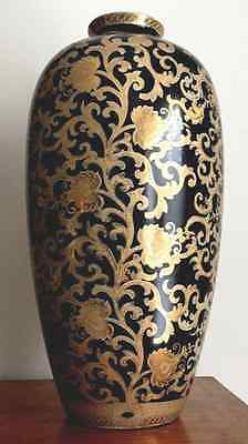 """Large 18"""" Hand Painted Asian/Chinese Porcelain Vase  W/ Black and Gold Details"""