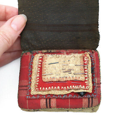 Antique 19th c. Handstitched Silk Sewing Needle Book ~ AAFA