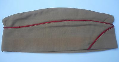 Original Tan Wool WWII Artillery Garrison Hat,  Red Piping #120