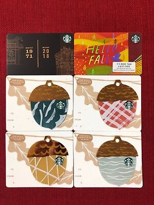 6 New Starbucks Fall 2018 Gift Cards Lot Acorn Die Cut Milano Roastery Limited